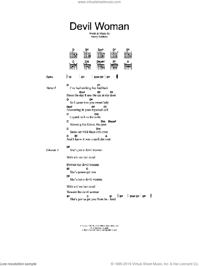 Devil Woman sheet music for guitar (chords) by Marty Robbins, intermediate skill level
