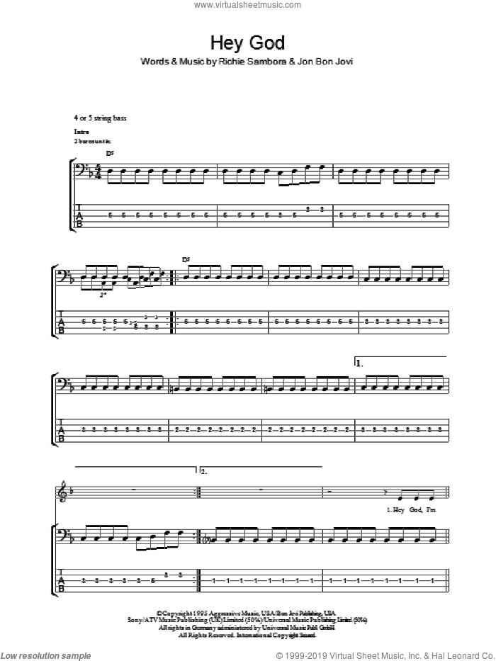 Hey God sheet music for bass (tablature) (bass guitar) by Richie Sambora and Bon Jovi. Score Image Preview.