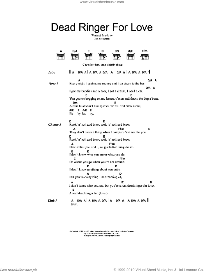 Dead Ringer For Love sheet music for guitar (chords, lyrics, melody) by Jim Steinman