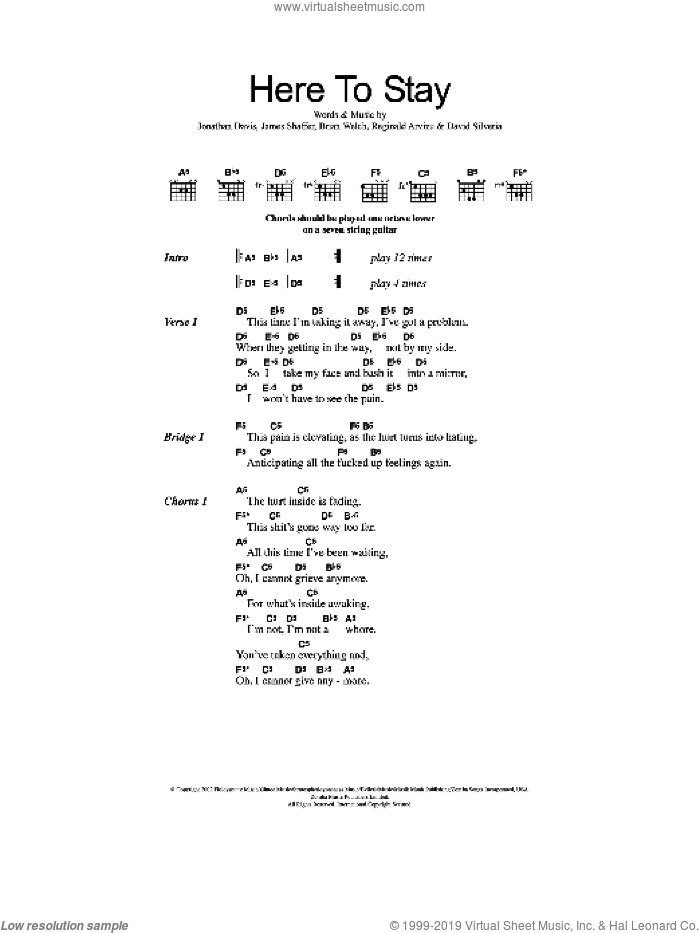 Here To Stay sheet music for guitar (chords) by Reginald Arvizu, Korn, Brian Welch, David Randall Silveria, James Shaffer and Jonathan Davis. Score Image Preview.