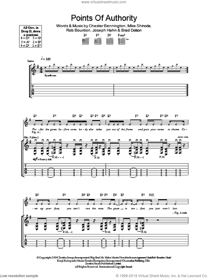 Points Of Authority sheet music for guitar (tablature) by Linkin Park. Score Image Preview.