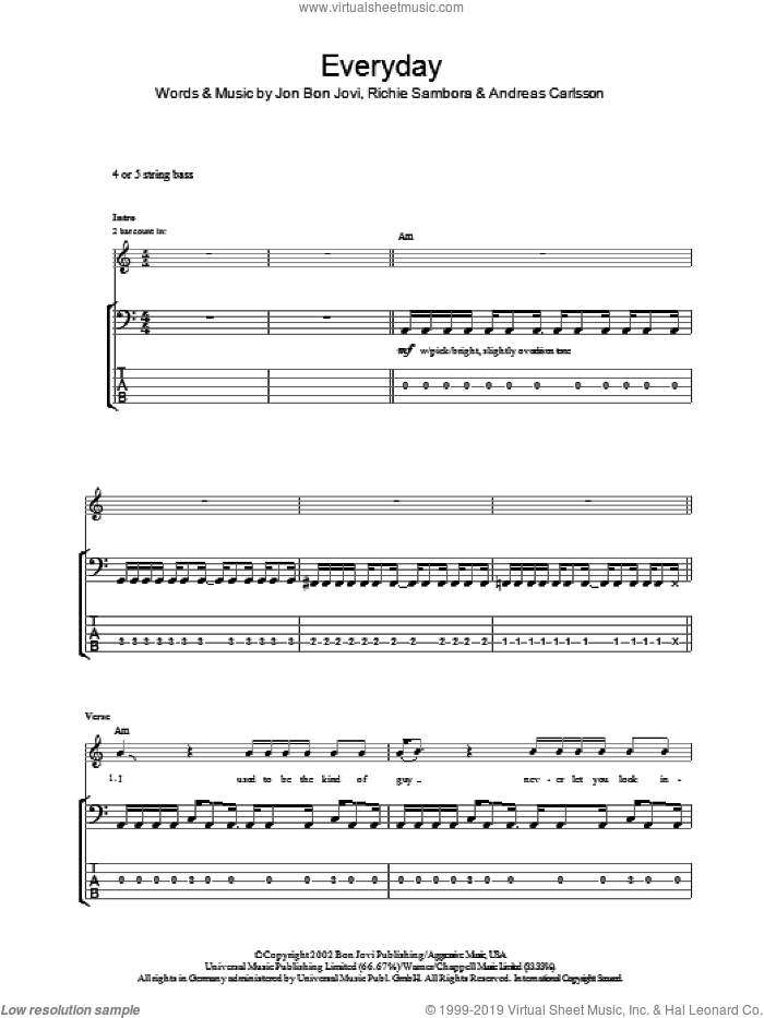 Everyday sheet music for bass (tablature) (bass guitar) by Richie Sambora, Andreas Carlsson and Bon Jovi. Score Image Preview.