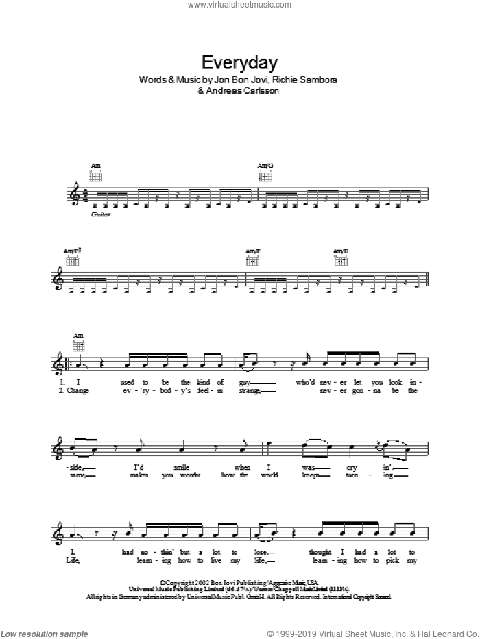 Everyday sheet music for voice and other instruments (fake book) by Richie Sambora, Andreas Carlsson and Bon Jovi. Score Image Preview.