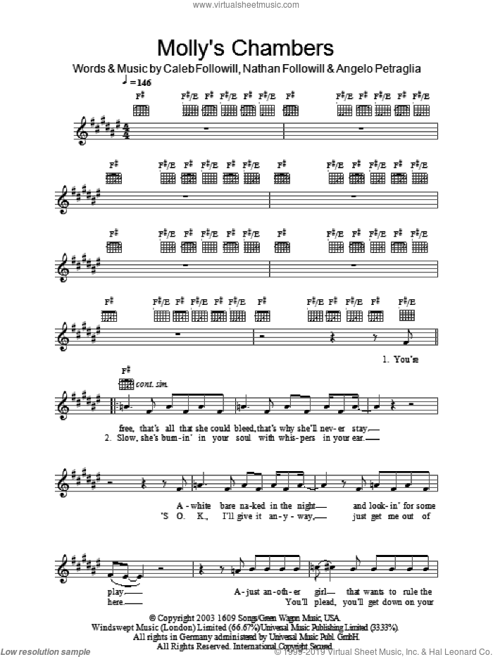 Molly's Chambers sheet music for voice and other instruments (fake book) by Kings Of Leon, Angelo Petraglia, Caleb Followill and Nathan Followill, intermediate. Score Image Preview.