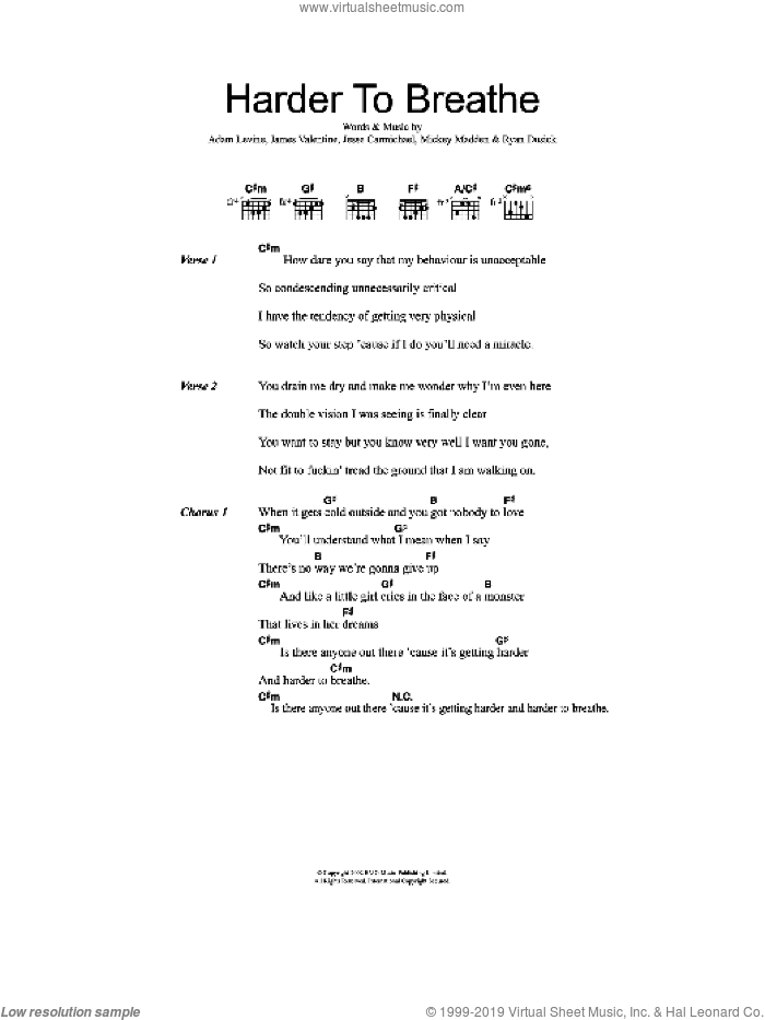 Harder To Breathe sheet music for guitar (chords, lyrics, melody) by Ryan Dusick