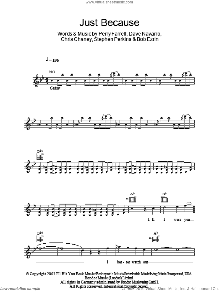 Just Because sheet music for voice and other instruments (fake book) by Jane's Addiction, Bob Ezrin and Perry Farrell. Score Image Preview.