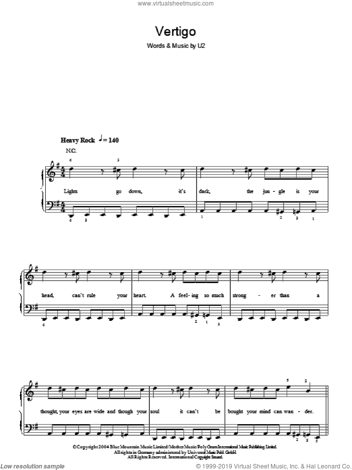 Vertigo sheet music for piano solo (chords) by U2