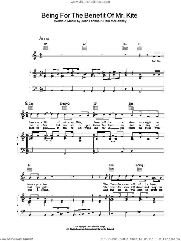 Being For The Benefit Of Mr Kite sheet music for voice, piano or guitar by The Beatles. Score Image Preview.