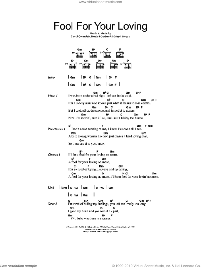 Fool For Your Loving sheet music for guitar (chords) by Whitesnake, Bernie Marsden and David Coverdale, intermediate guitar (chords). Score Image Preview.