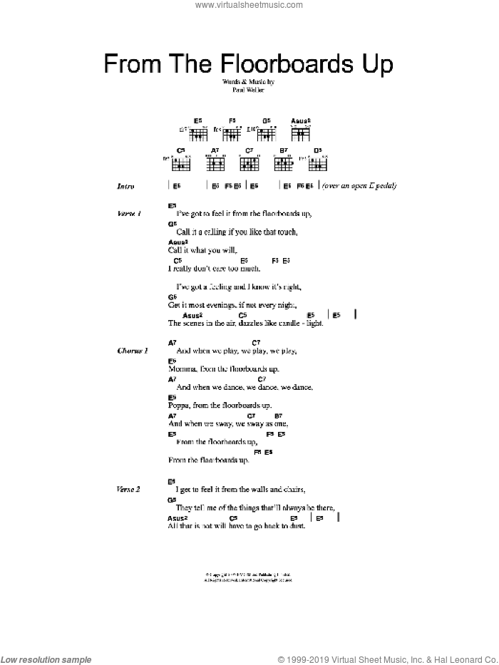 From The Floorboards Up sheet music for guitar (chords) by Paul Weller, intermediate. Score Image Preview.