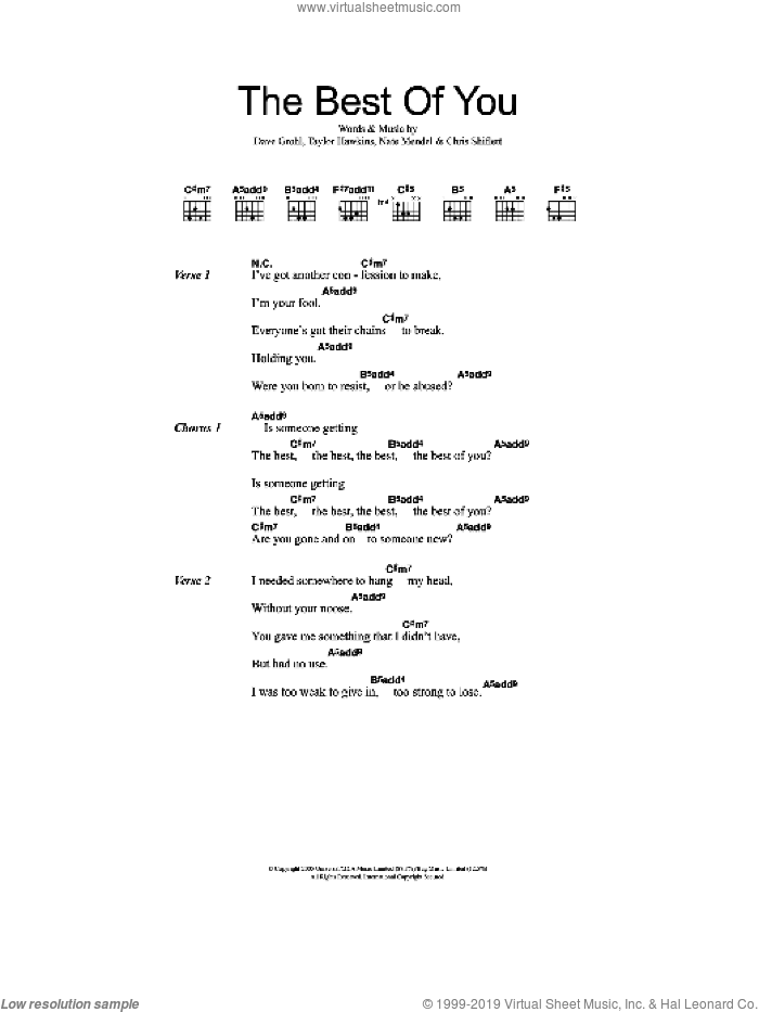 Best Of You sheet music for guitar (chords) by Taylor Hawkins, Foo Fighters, Chris Shiflett, Dave Grohl and Nate Mendel. Score Image Preview.