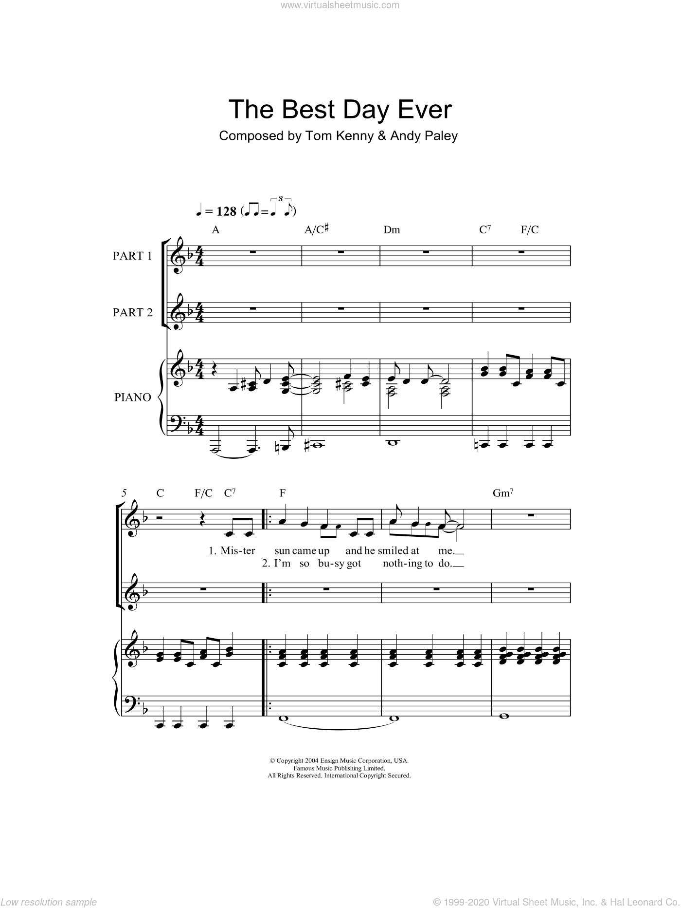 The Best Day Ever sheet music for choir (2-Part) by SpongeBob SquarePants, Andy Paley and Tom Kenny, intermediate duet