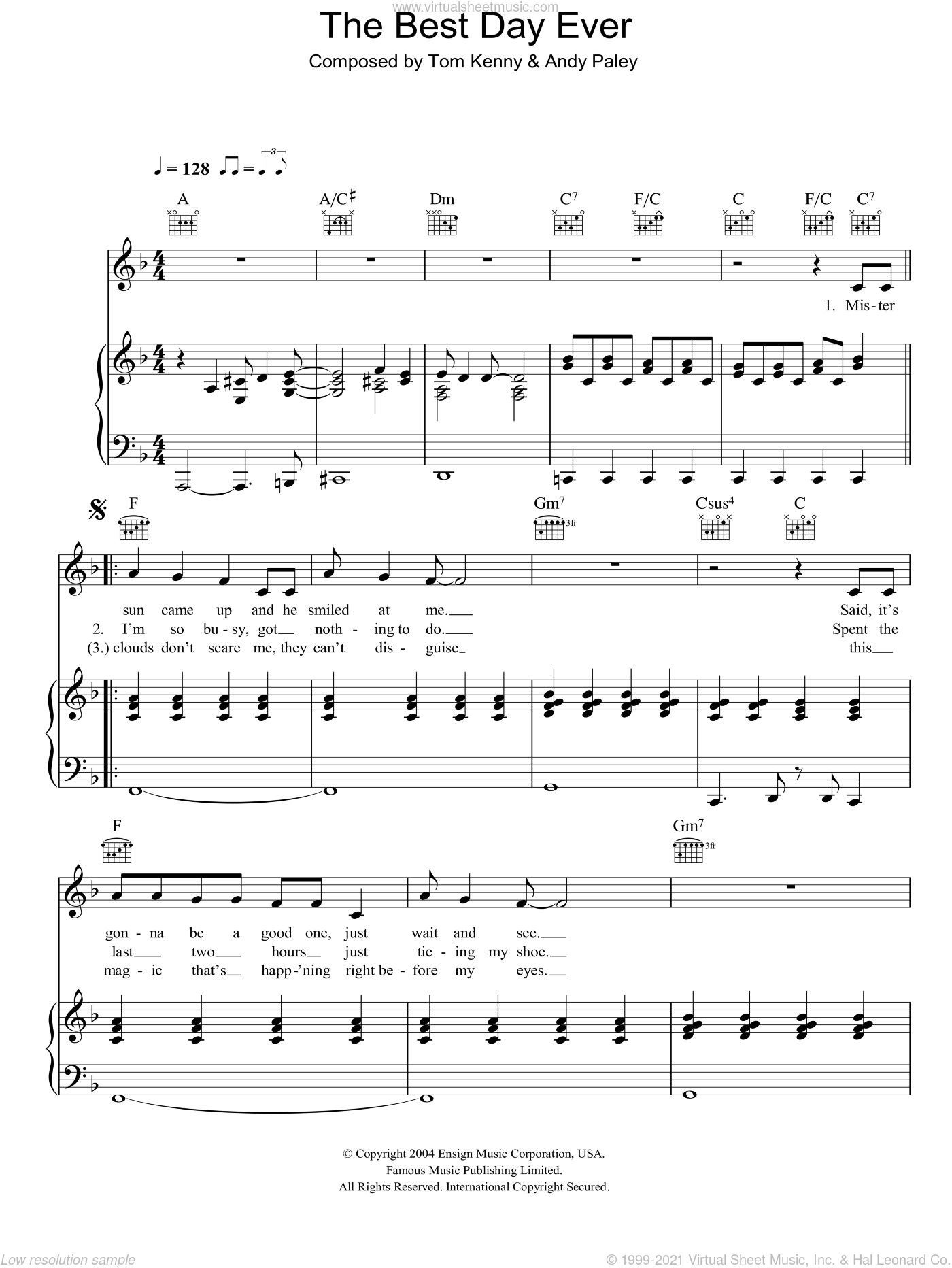 The Best Day Ever sheet music for voice, piano or guitar by SpongeBob SquarePants, Andy Paley and Tom Kenny, intermediate. Score Image Preview.