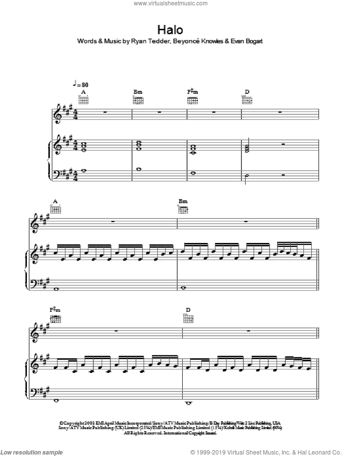 Halo sheet music for voice, piano or guitar by Beyonce, Evan Bogart and Ryan Tedder, intermediate skill level