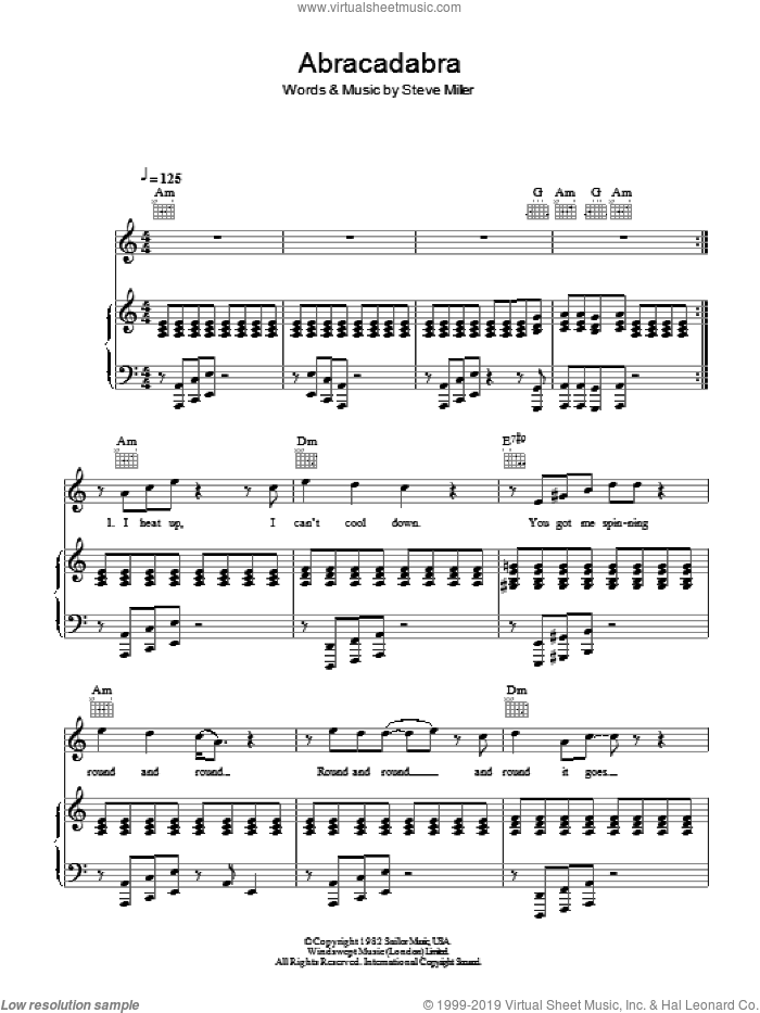 Abracadabra sheet music for voice, piano or guitar by Steve Miller. Score Image Preview.