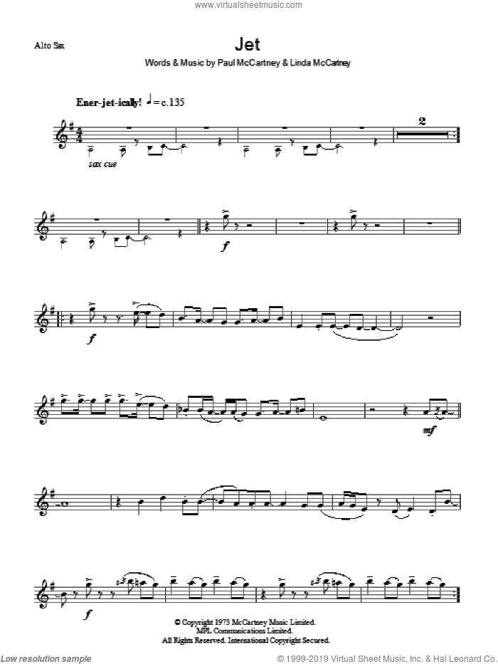 Jet sheet music for voice and other instruments (fake book) by Paul McCartney, Paul McCartney and Wings and Linda McCartney, intermediate skill level