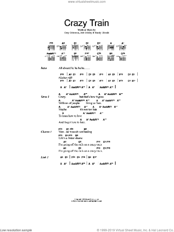 Crazy Train sheet music for guitar (chords) by Ozzy Osbourne, Bob Daisley and Randy Rhoads, intermediate. Score Image Preview.