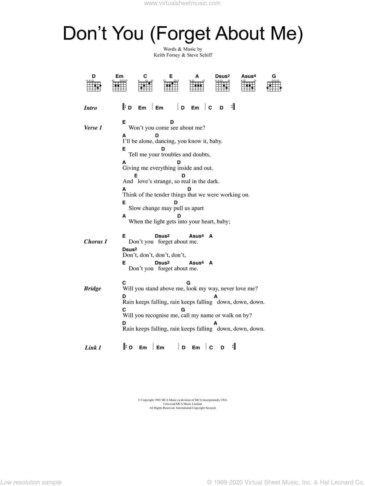 Don't You (Forget About Me) sheet music for guitar (chords) by Steve Schiff, Simple Minds and Keith Forsey. Score Image Preview.