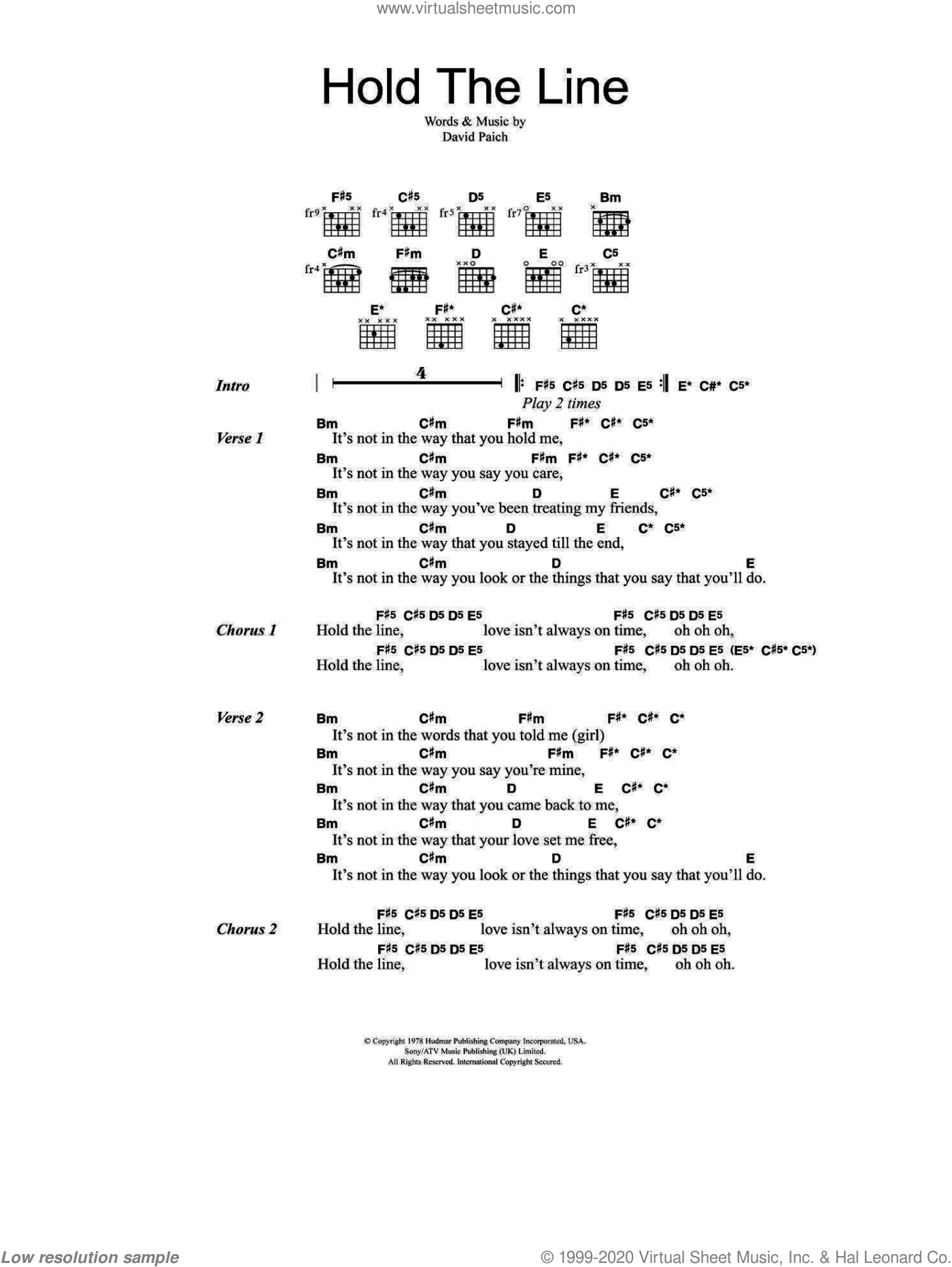 Hold The Line sheet music for guitar (chords) by David Paich and Toto. Score Image Preview.