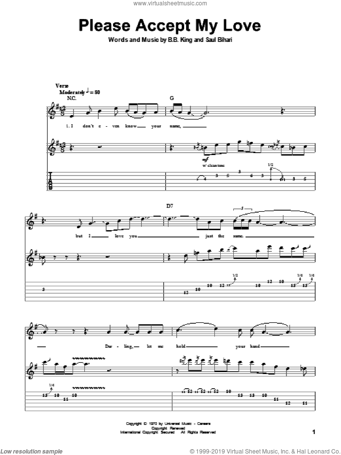 Please Accept My Love sheet music for guitar (tablature, play-along) by B.B. King and Saul Bihari, intermediate