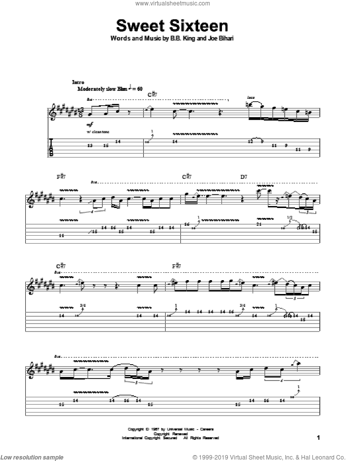 Sweet Sixteen sheet music for guitar (tablature, play-along) by B.B. King, intermediate guitar (tablature, play-along). Score Image Preview.