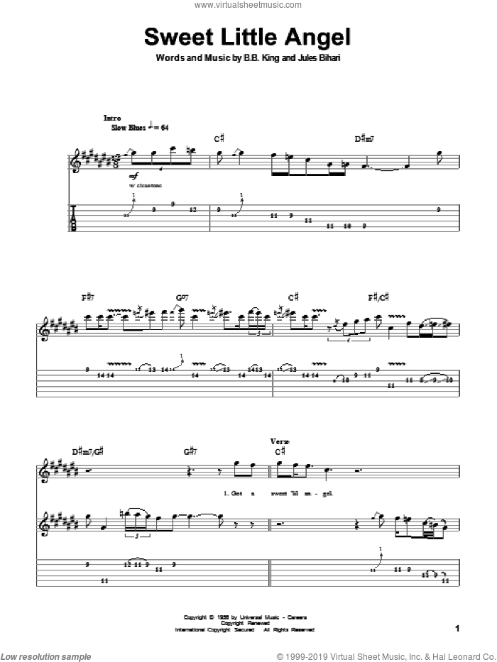 Sweet Little Angel sheet music for guitar (tablature, play-along) by Jules Bihari and B.B. King. Score Image Preview.