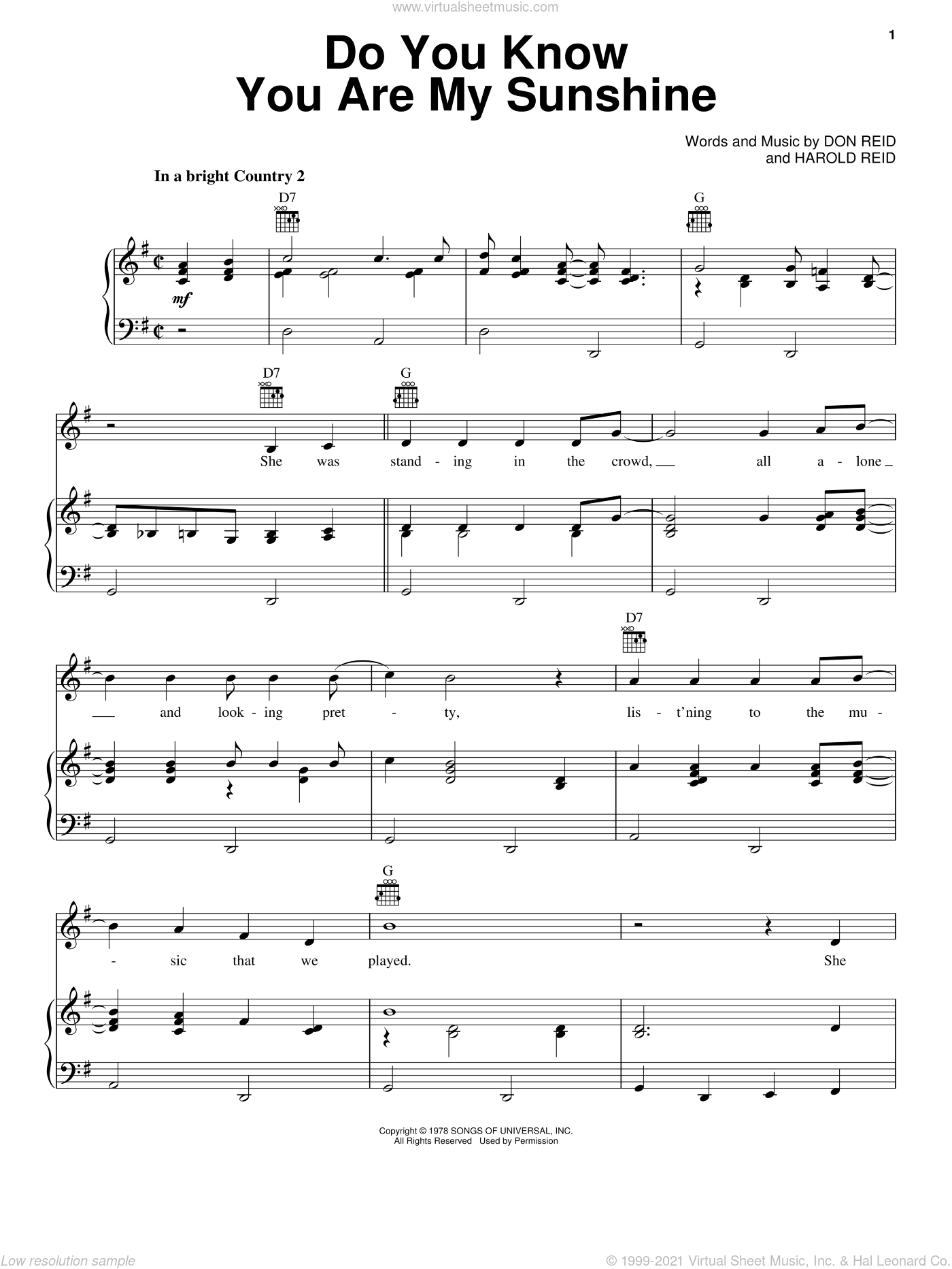 Do You Know You Are My Sunshine sheet music for voice, piano or guitar by Harold Reid