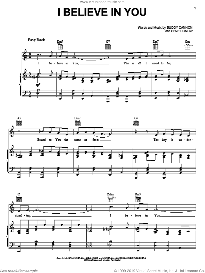 I Believe In You sheet music for voice, piano or guitar by Gene Dunlap and Mel Tillis. Score Image Preview.
