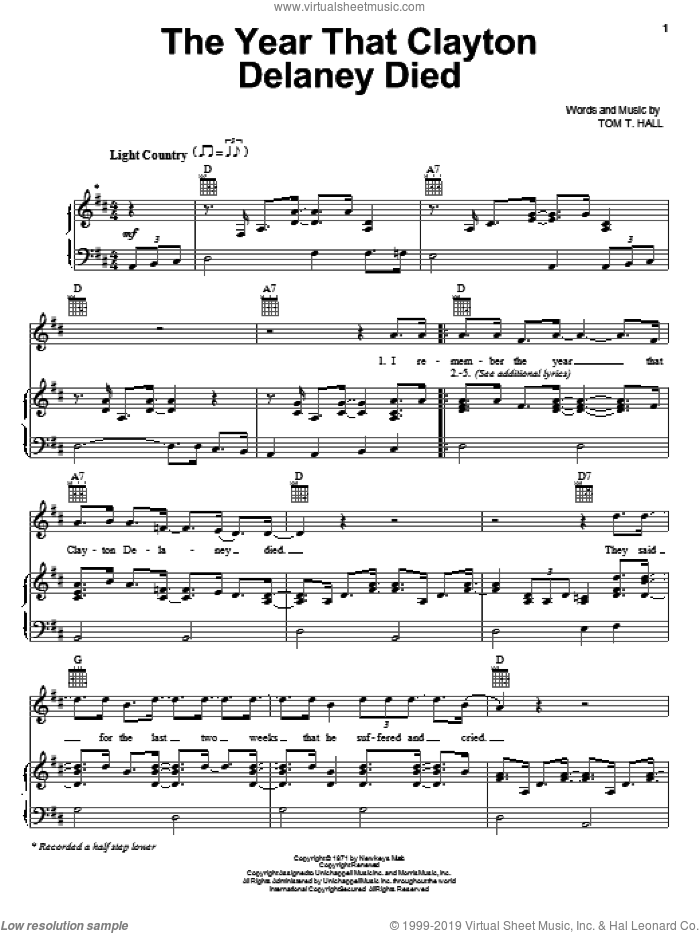 The Year That Clayton Delaney Died sheet music for voice, piano or guitar by Tom T. Hall, intermediate skill level
