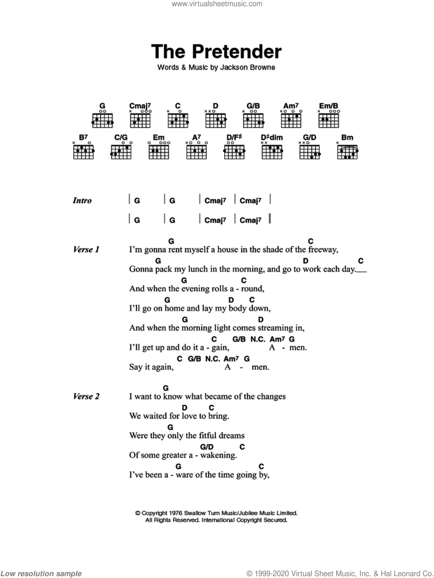 The Pretender sheet music for guitar (chords) by Jackson Browne, intermediate. Score Image Preview.