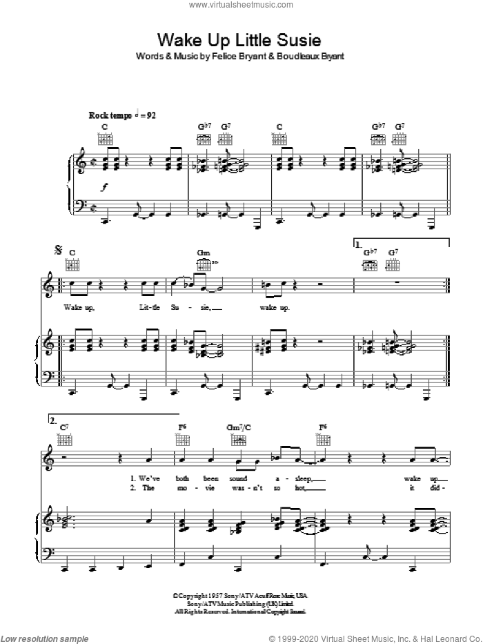Wake Up Little Susie sheet music for voice, piano or guitar by Felice Bryant, Everly Brothers and Boudleaux Bryant. Score Image Preview.