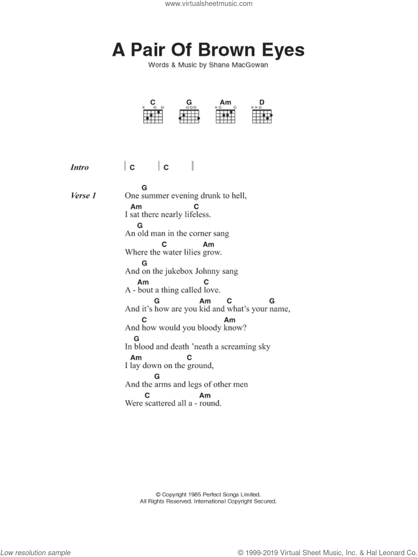 Pogues A Pair Of Brown Eyes Sheet Music For Guitar Chords