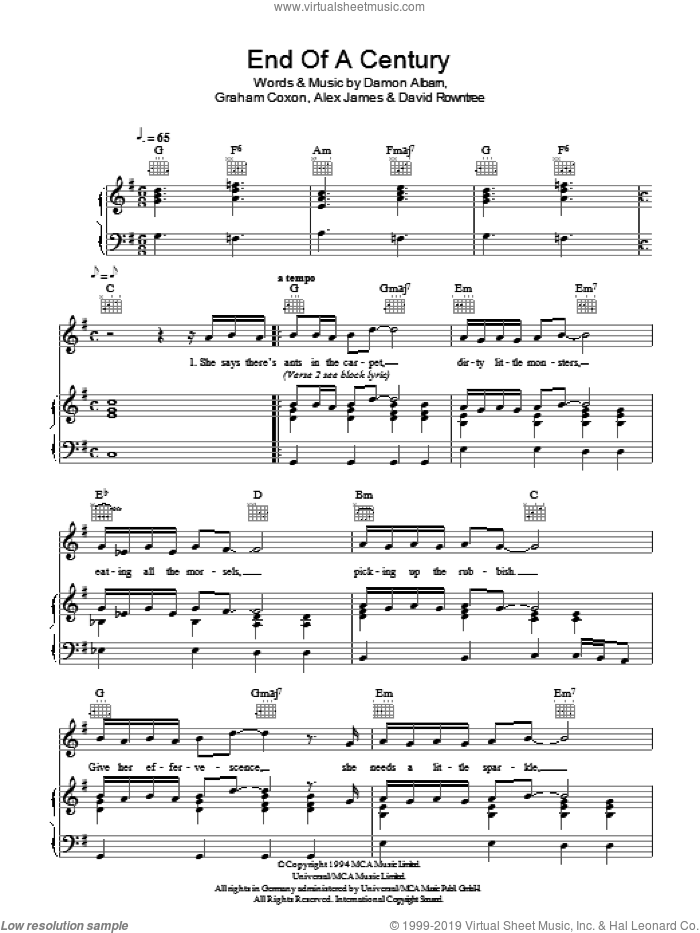 End Of A Century sheet music for voice, piano or guitar by Graham Coxon, Blur, Alex James and Damon Albarn. Score Image Preview.