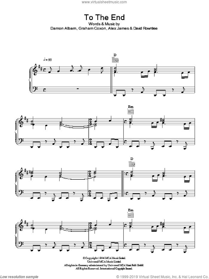 To The End sheet music for voice, piano or guitar by Graham Coxon