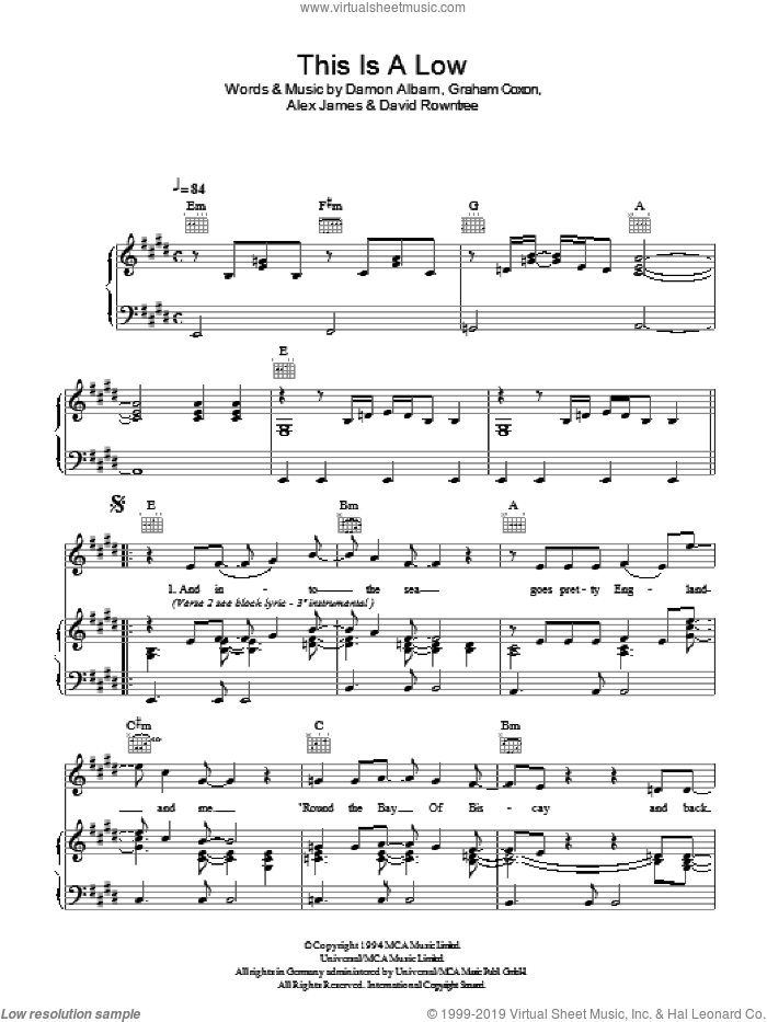 This Is A Low sheet music for voice, piano or guitar by Graham Coxon, Blur, Alex James and Damon Albarn