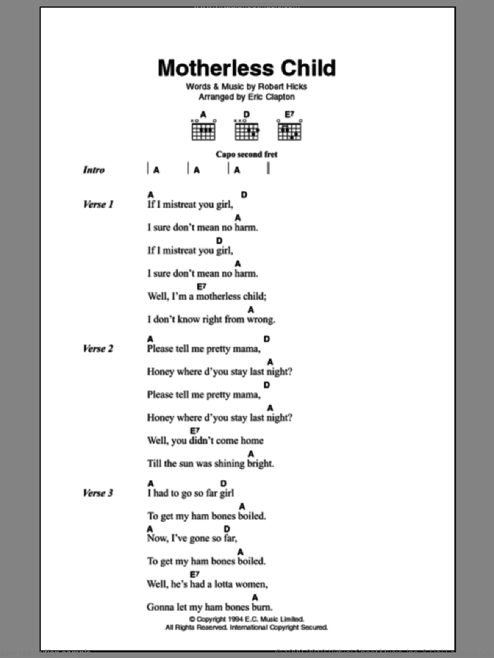Motherless Child sheet music for guitar (chords) by Eric Clapton. Score Image Preview.