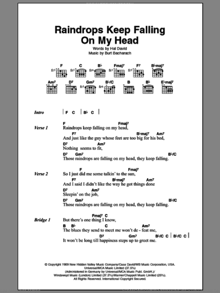 Raindrops Keep Fallin' On My Head sheet music for guitar (chords) by Hal David