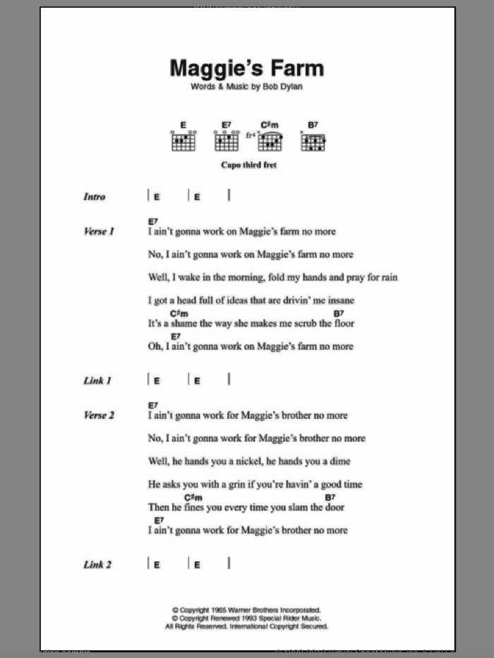 Maggie's Farm sheet music for guitar (chords) by Bob Dylan. Score Image Preview.