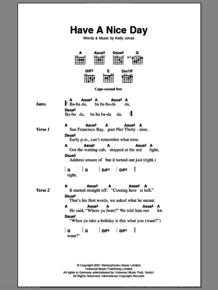 Have A Nice Day sheet music for guitar (chords, lyrics, melody) by Kelly Jones