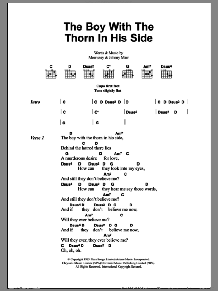 The Boy With The Thorn In His Side sheet music for guitar (chords) by Steven Morrissey, The Smiths and Johnny Marr. Score Image Preview.