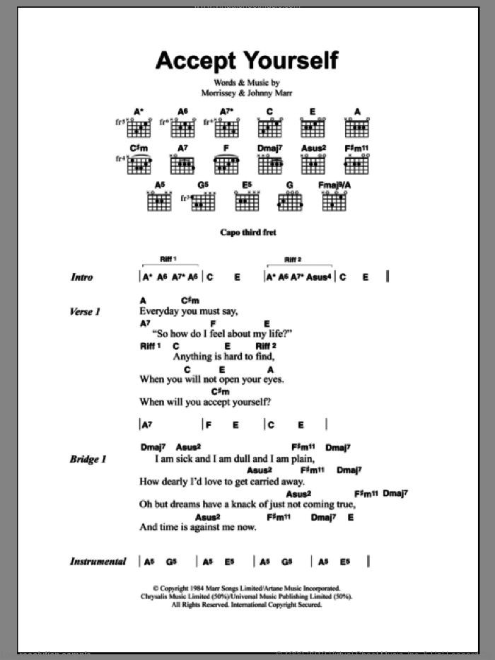 Accept Yourself sheet music for guitar (chords) by The Smiths, Johnny Marr and Steven Morrissey. Score Image Preview.