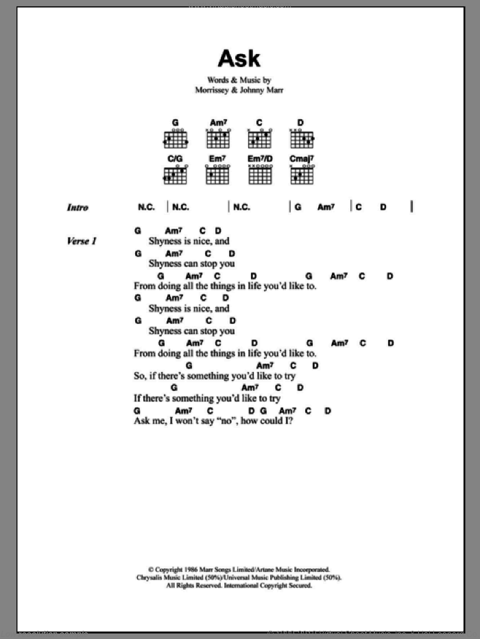 Ask sheet music for guitar (chords) by Steven Morrissey, The Smiths and Johnny Marr. Score Image Preview.