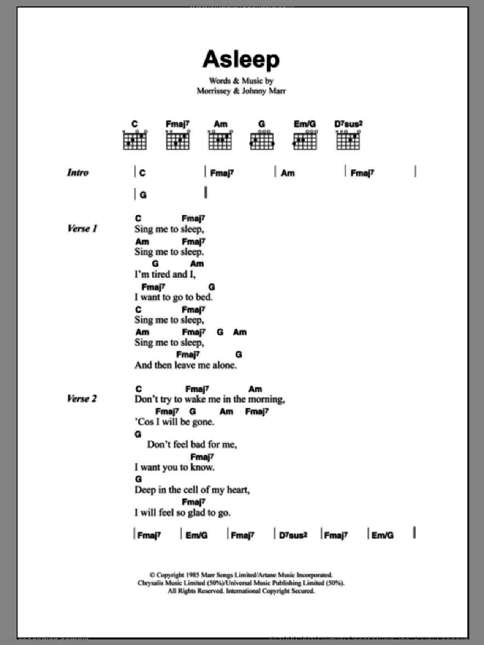 Asleep sheet music for guitar (chords) by The Smiths, Johnny Marr and Steven Morrissey, intermediate skill level