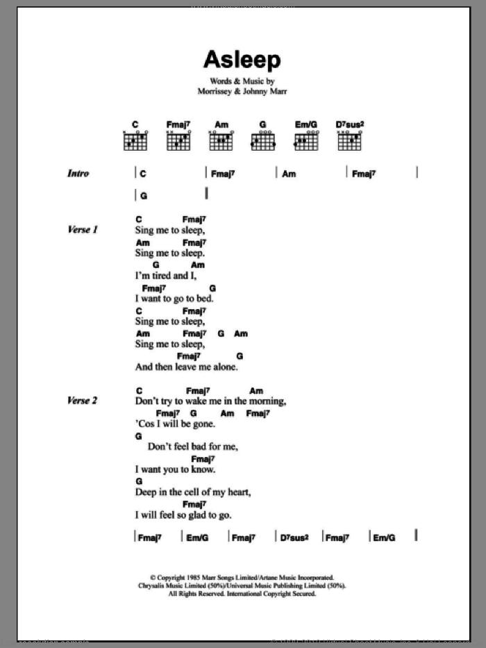 Smiths - Asleep sheet music for guitar (chords) [PDF]