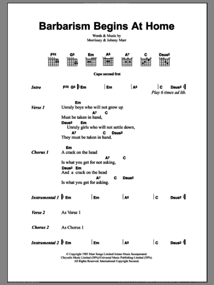 Barbarism Begins At Home sheet music for guitar (chords) by The Smiths, Johnny Marr and Steven Morrissey, intermediate skill level