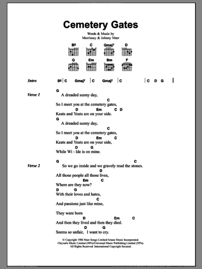 Cemetry Gates sheet music for guitar (chords) by Steven Morrissey, The Smiths and Johnny Marr. Score Image Preview.