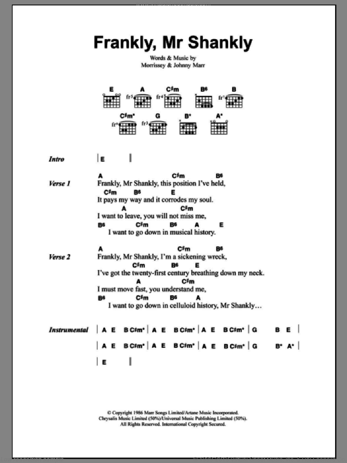 Frankly, Mr Shankly sheet music for guitar (chords) by Steven Morrissey
