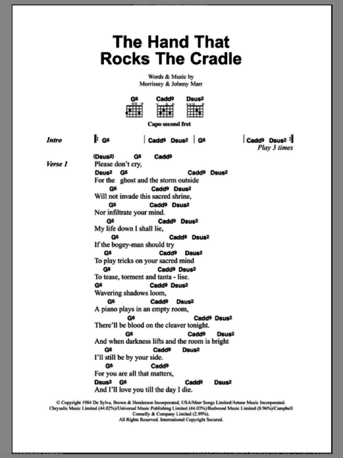 The Hand That Rocks The Cradle sheet music for guitar (chords) by Steven Morrissey, The Smiths and Johnny Marr. Score Image Preview.