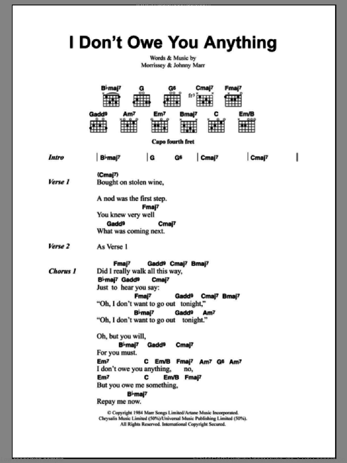 I Don't Owe You Anything sheet music for guitar (chords) by Steven Morrissey, The Smiths and Johnny Marr. Score Image Preview.