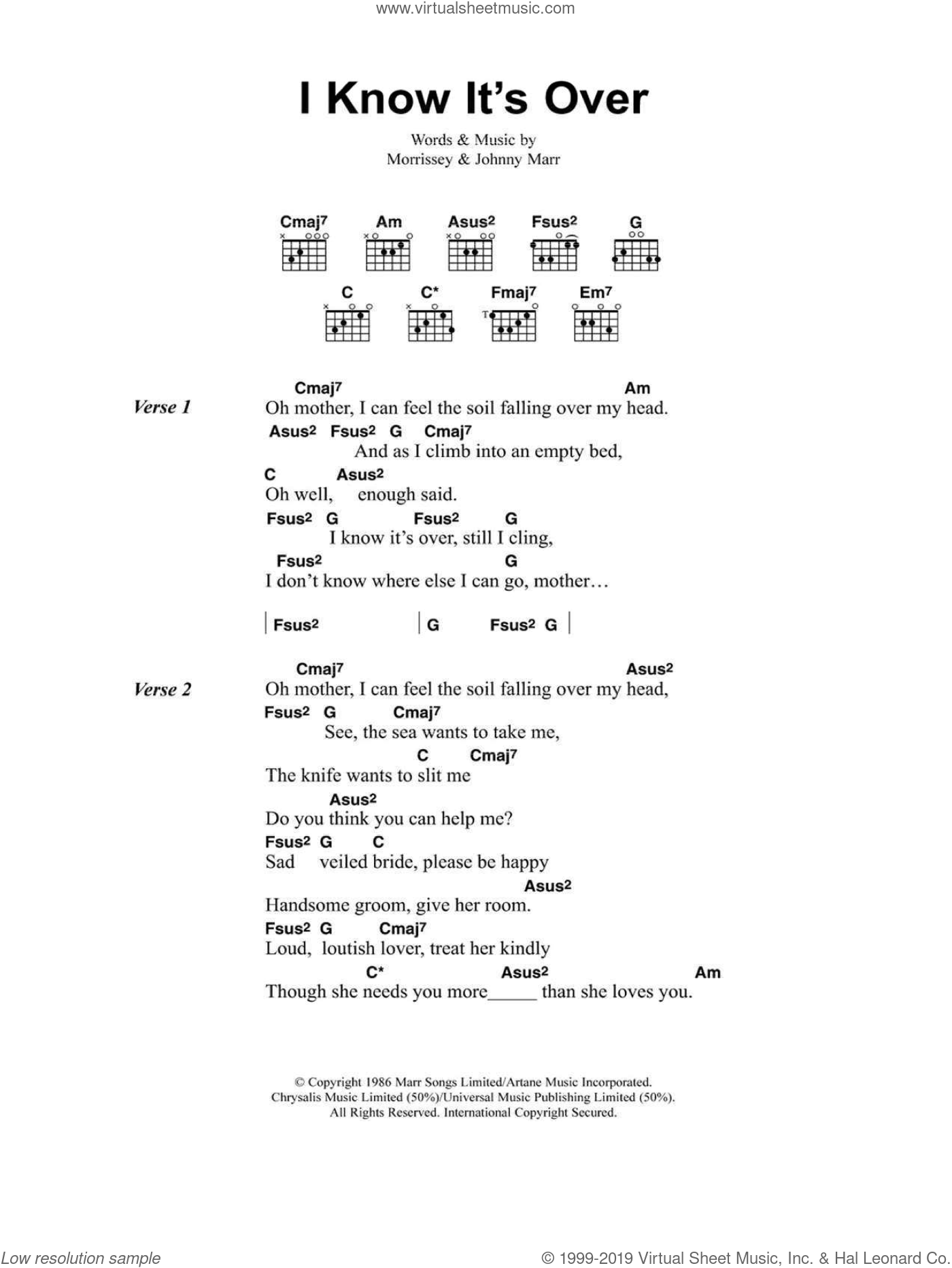 I Know It's Over sheet music for guitar (chords, lyrics, melody) by Steven Morrissey
